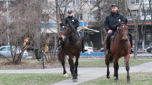 Женщина сдочкой попали под конного полицейского вКиеве