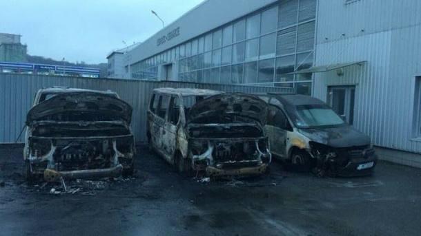 ВКиеве подожгли три автомобиля «Муниципальной полиции»