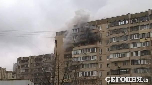 ВКиеве горела многоэтажка, дым перепугал граждан