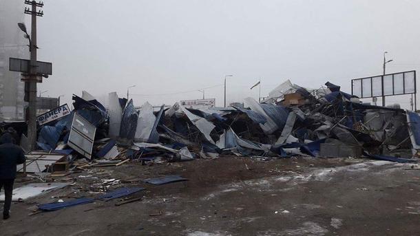 ВКиеве снесли рынок около станции метро «Харьковская»