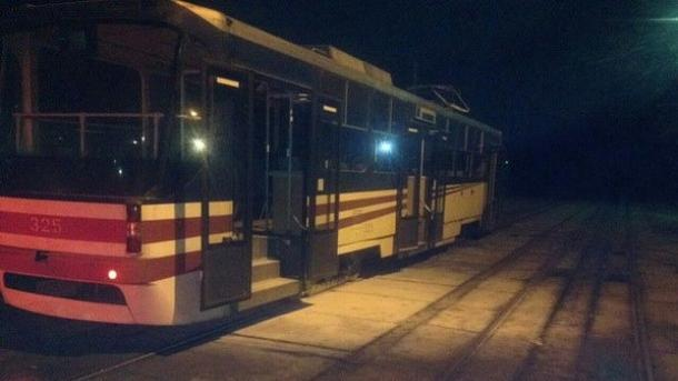 ВКиеве трамвай зажегся прямо находу
