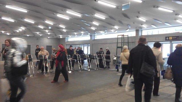 Восточный вестибюль станции метро «Левобережная» вКиеве возобновил работу после ремонта
