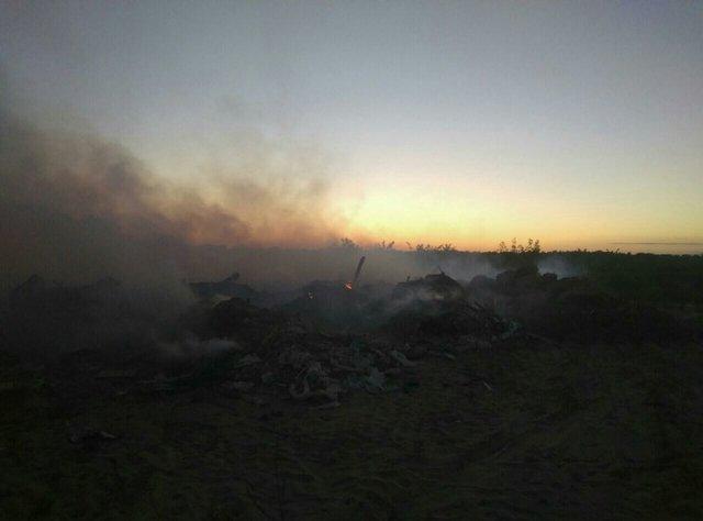 Интенсивный пожар произошел насвалке вКиевской области