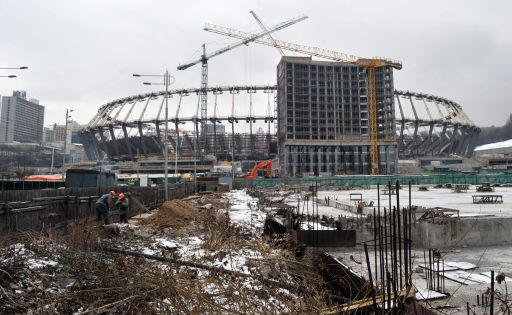 A view of the constructionsite of Olympiyski stadium in Kiev on January 24, 2011. Poland and Ukraine will co-host the 2012 European Soccer Championship. AFP PHOTO/ SERGEI SUPINSKY
